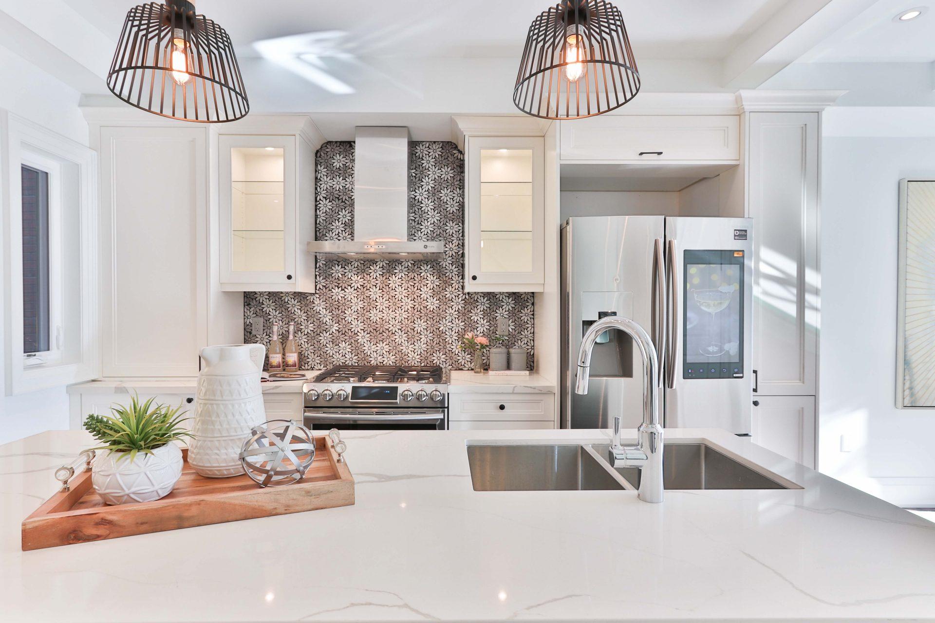 Shot of a clean, bright kitchen design