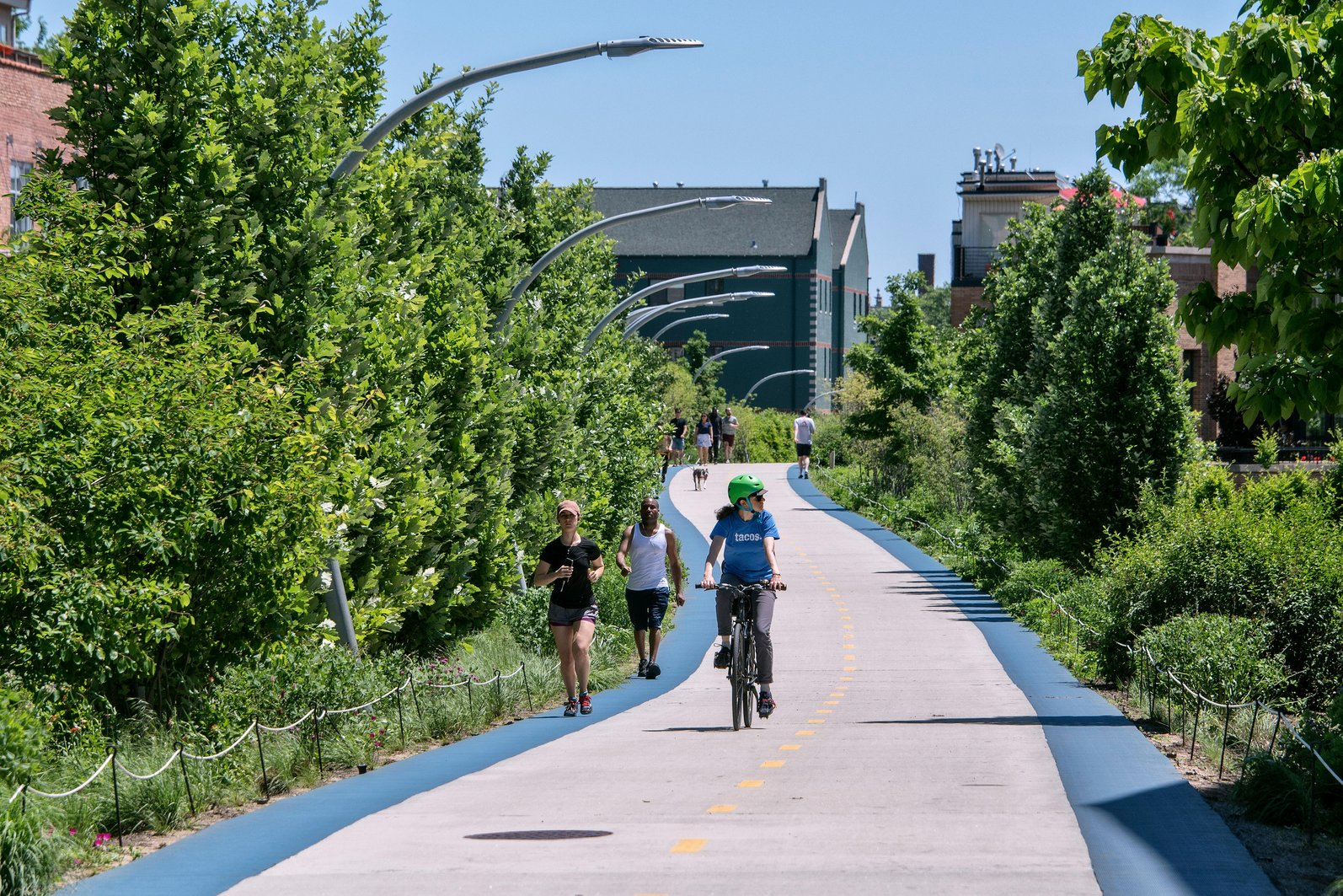 People running and biking on Chicago's 606 Trail