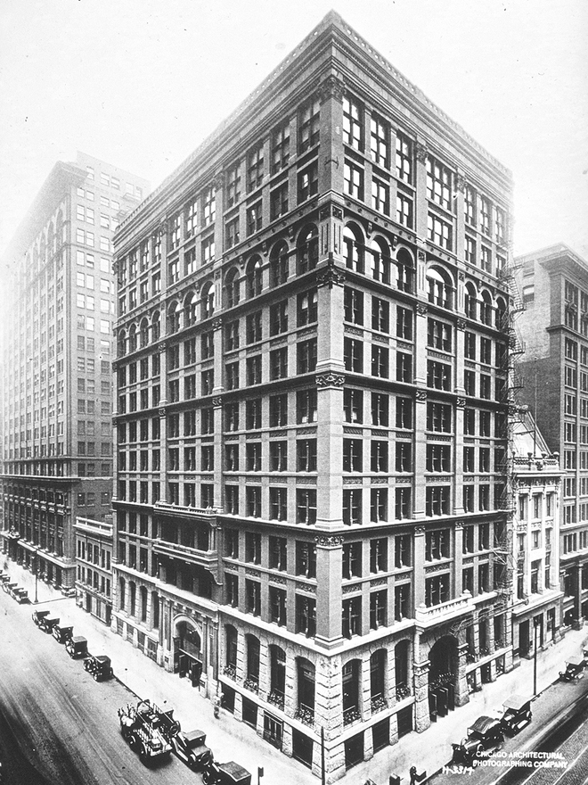An old photo of the Chicago Home Insurance Building, one of the world's first skyscrapers.