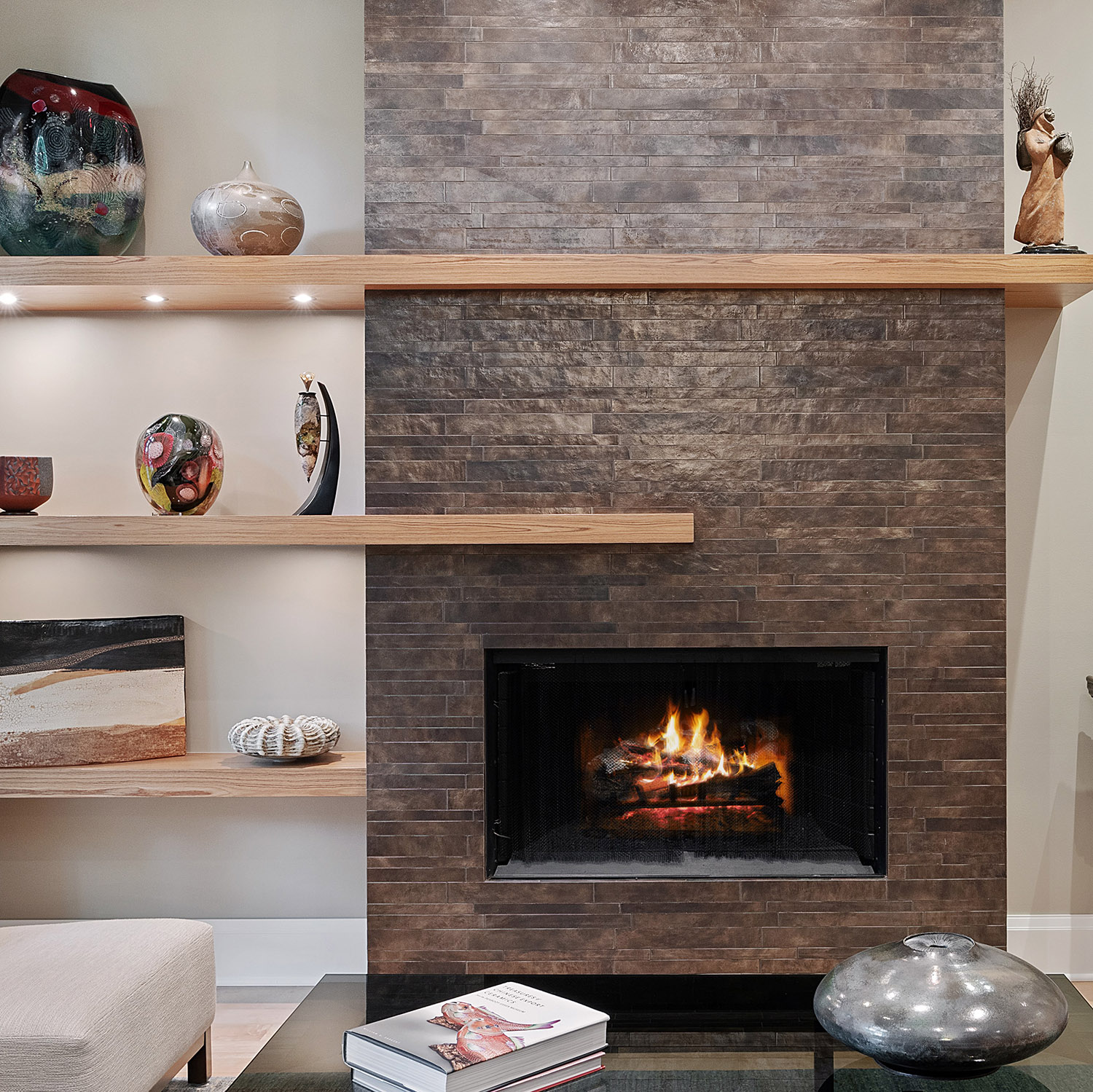 Warm and cozy fireplace in Chicago, inspired by hygge
