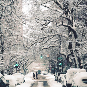 Chicago street covered in snow
