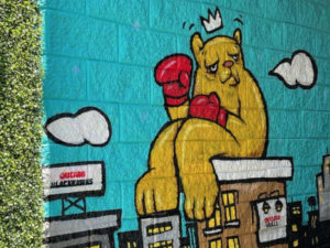 Close-up photo of JC Rivera Bear Champ Mural