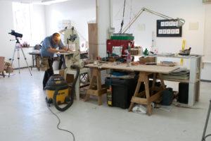 An artist working at the Hyde Park Art Center