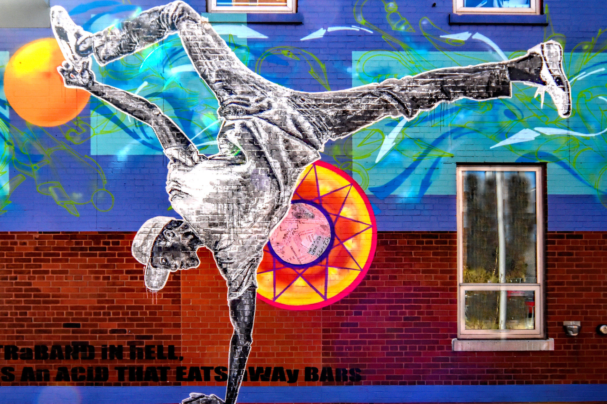 Mural at the entrance of the Hyde Park Art Center, by Rahmaan Statik